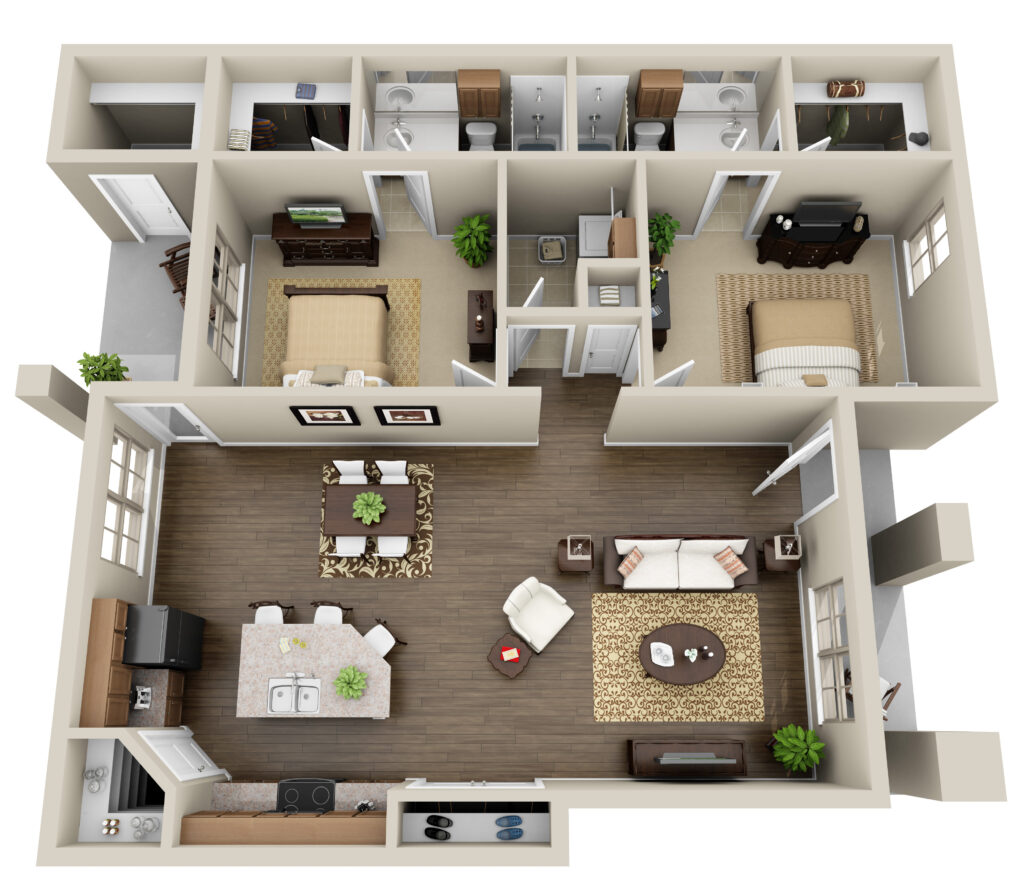 Floor plan of a apartment unit at Haverhill Place.